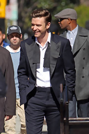 Justin Timberlake proved that black and navy can go together with this two-toned suit.