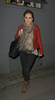 Kara Tointon wore this snakeskin print scarf while out in London.
