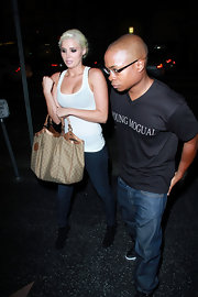 Karissa was spotted downtown Hollywood toting a printed tote bag.