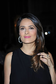 Salma Hayek attended the Hogan by Karl Lagerfeld Party in Paris wearing a pretty purple nail polish.