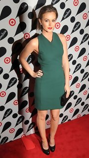 Leighton Meester made an entrance at the Target + Neiman Marcus holiday launch event in black pumps with rounded toes.