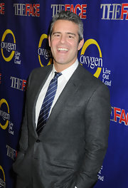 Andy Cohen played it simple with a blue and white striped tie at 'The Face' premiere in NYC.