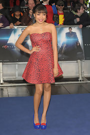 Dionne Bromfield's red leopard-print frock had a sweet and punk look combo.
