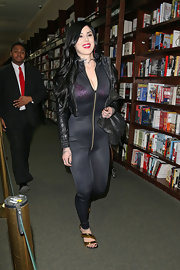Kat Von D chose a sheer black jumpsuit to sport while hitting up an NYC bookstore.