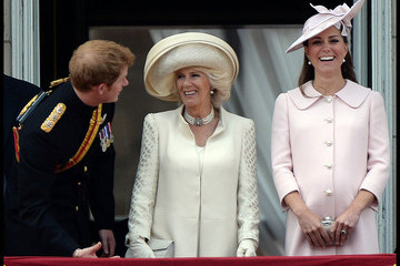 Kate Middleton Camilla Parker Bowles Catherine, The Duchess of Cambridge, Camilla, The Duchess Of Cornwall and Prince Harry leave Buckingham Palace on their way to Horse Guards Parade for Trooping of The Colour event in London