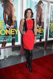 Walking the red carpet at the NYC Premiere of 'One for the Money', LuAnn de Lessep stood out in a bold red and black shift dress.
