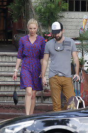 Katherine Heigl opted for a playful purple frock for her look while out grabbing lunch with her husband.