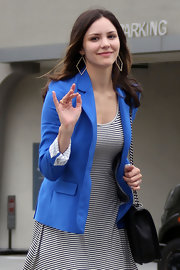Katharine McPhee stepped out for lunch in Beverly Hills wearing a pair of yellow gold large diamond cut diamond earrings.