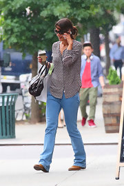 Katie Holmes chose a delicate-print blouse and jeans for a casual but cool look while out in NYC.