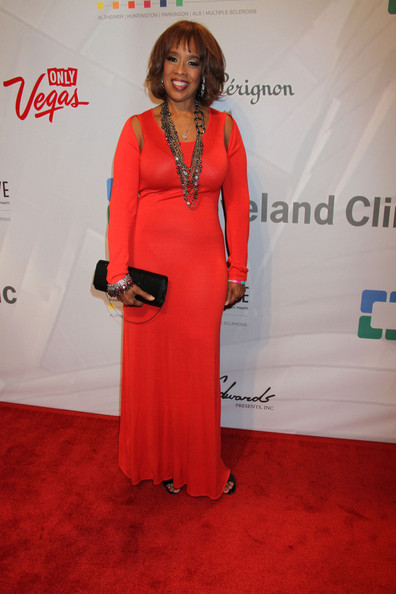 Gayle King stunned in red at the 'Power of Love' gala where she sported this elegant red gown.