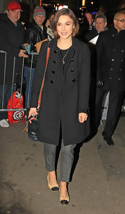 Keira Knightley left Comedy Theatre in classic nude cap toe ballet flats.