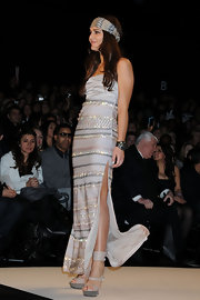 Margherita Missoni shimmied down the Fashion for Relief catwalk in a pair of stylish nude platform sandals.