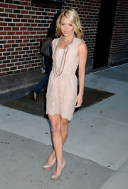 "Kelly Ripa showed off her svelte figure in this lace nude number while leaving the ""Live with Regis and Kelly"" set. She added an awesome pair of nude platform pumps to complete her barely-there look."