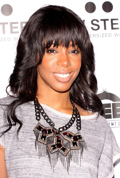 More Pics of Kelly Rowland Long Curls with Bangs (2 of 31) - Long Curls with Bangs Lookbook - StyleBistro []