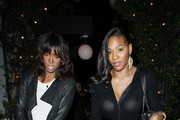 Tennis ace Serena Williams enjoys a night out with gal pals Kelly Rowland, Kim Kardashian and Brittny Gastineau at STK in Hollywood. Injury-prone Serena recently suffered a pulmonary embolism that travelled from her leg to her lungs but the World former one looks to be recovering well.  In July 2010 Serena injured her foot in a Munich restaurant and was wearing a cast until recently but she appears to have had it removed and is now sporting  a gauze dressing on the top of her left foot.