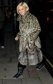 Kerry Katona took a walk on the wild side with a furry brown tote.