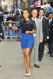 Kerry Washington chose a cool edgy look for her appearance at 'Good Morning America' when she wore this black and blue leather frock.