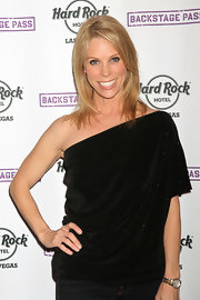 Cheryl Hines wore this draped velvet top with skinny jeans at the Hard Rock Hotel in Vegas.