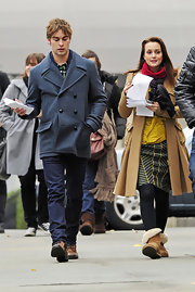 Chace was spotted on set in a gray pea coat which we wore with classic jeans.