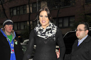 Khloe Kardashian looks super stylish as she steps out with her sisters in New York. Kim, Khloe and Kourtney were visiting the Fox 5 and CW studios.