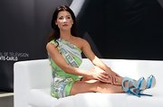 Jacqueline MacInnes Wood looked chic and vibrant in her print one-shoulder dress at the Monte Carlo TV Festival.