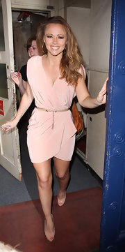 Kimberley Walsh finished off her ensemble with classic nude peep-toes.