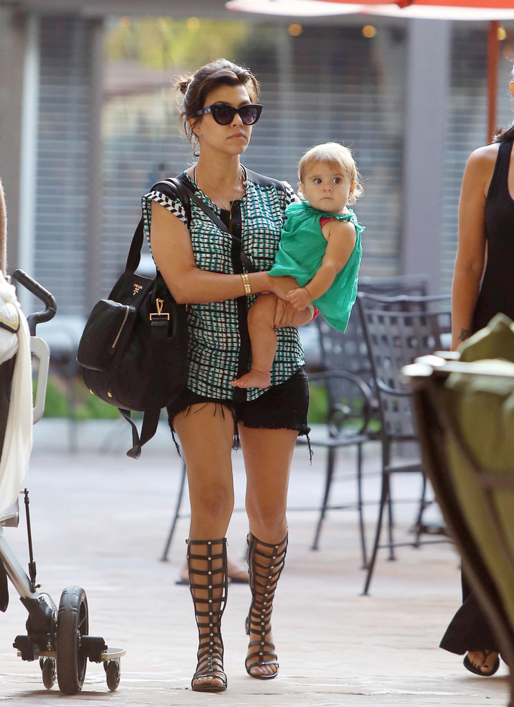 Kourtney Kardashian seen with her daughter Penelope at Taberna restaurant in Los Angeles.