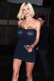 Nicola McLean attended an event at the Fountain Studios wearing a strapless bandage dress that was sheer enough to show her undergarment.