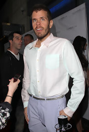 Perez Hilton went for subtle colors with this pastel button-down at the Glamhouse.com launch.