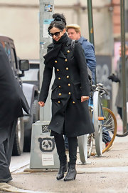 Krysten Ritter stepped out in style with this black wool coat with double-breast buttons.