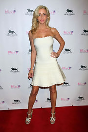 Camille Grammer wore this flirty white bandage dress for the opening of Blizz Frozen Yogurt.