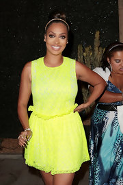 La La Anthony was a bright pop of color in her yellow mini dress during the anniversary party of Courvoisier Gold.