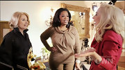 Oprah Winfrey wore a charming tan cowl-neck top for her interview with Lady Gaga.