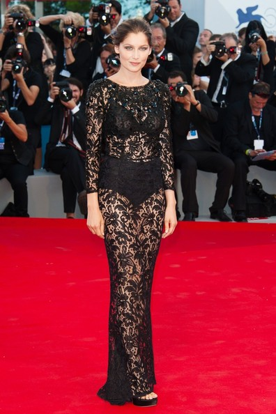 Laetitia confidently strolled onto the red carpet in this daring sheer gown at the Venice Film Festival.
