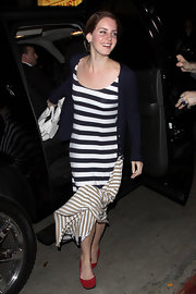 Lana Del Rey wore this striped maxi-dress with a blue cardigan at Chateau Marmont.