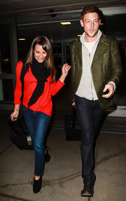 Cory Monteith traveled in style in a pair of dark wash jeans.