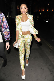 Leigh-Anne showed off her quirky style with this floral-printed pantsuit.