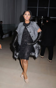 Toni Braxton donned a textured LBD to the Cynthia Rowley NYC show.