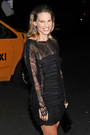 Hilary completed her Emilio Pucci dress with a 14-karat gold, onyx and diamond ring.