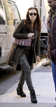 Leighton Meester was spotted on the set of 'Gossip Girl' bundled up for fall weather complete with black wedge boots with lace-up detailing.