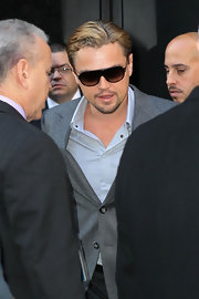Leonardo DiCaprio looked oh-so-cool in his designer shield sunglasses as he left the 'Good Morning America' studio.