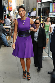 Robin Roberts looked charming in her sleeveless purple dress on the set of 'Good Morning America.'