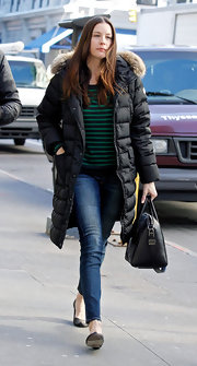 Liv Tyler showed off her stripes in NYC in a darling navy and green top.