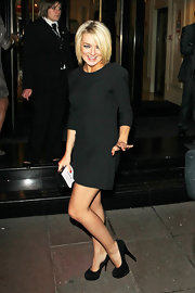 Sheridan rocks a classic little black dress to not distract from her bright blond bob.