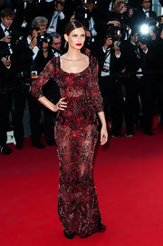 Bianca Balti rocked a sheer beaded dress that feature a black lace underlay for her high-drama red carpet look.