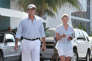 Kelsey Grammer looked summery in his pastel blue button-down and white shorts during a trip to Miami.