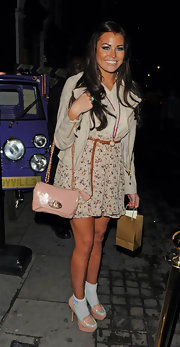 Jessica Wright went to a Cadbury party in LA wearing a pair of peach platforms with mint accents along with girly anklets featuring baby blue bows.