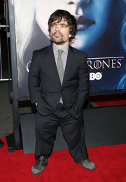 "Peter Dinklage wore a classic, two-button, notch-collar suit to the ""Game of Thrones"" premiere in LA."