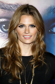 Stana Katic added a dash of color to her red carpet look when she opted for a blue eyeshadow.
