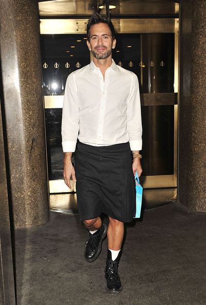 Marc Jacobs showed up at the Late Show with Jimmy Fallon in a black kilt and white button up.